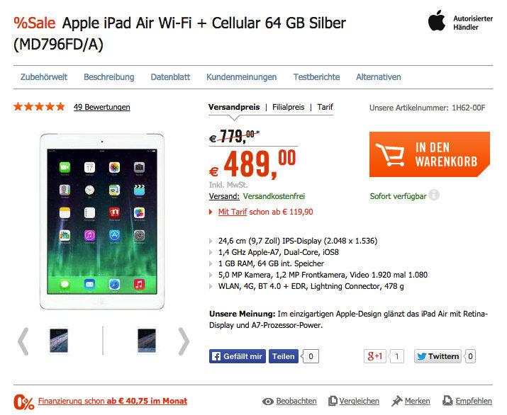 Apple iPad Air Wi-Fi + Cellular 64 GB Silber für 489 €