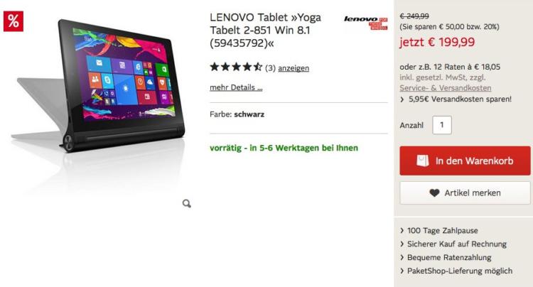 Lenovo Yoga 2-8 32GB in Schwarz für nur 199,99 €