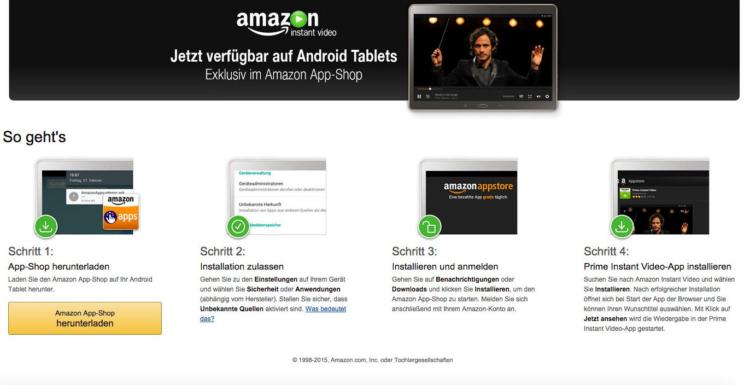 Amazon Instant Video App nun auch für Android-Tablets geeignet