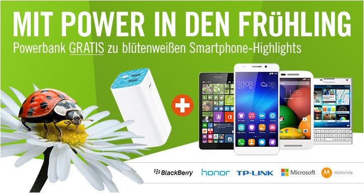 Gratis Powerbank bei Kauf eines weißen Smartphones